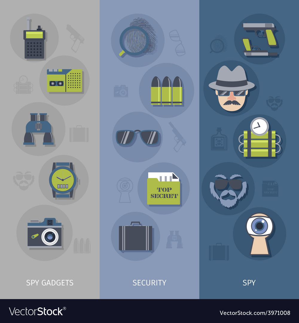 Spy gadgets banners set vector | Price: 1 Credit (USD $1)