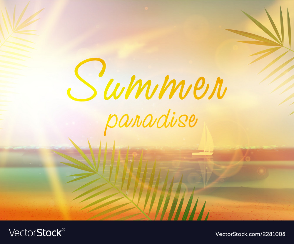 Summer beach background in retro style vector | Price: 1 Credit (USD $1)