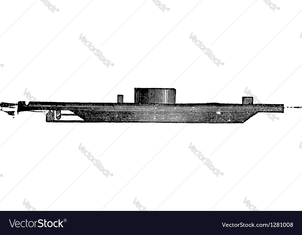 Uss monitor vintage engraved vector | Price: 1 Credit (USD $1)
