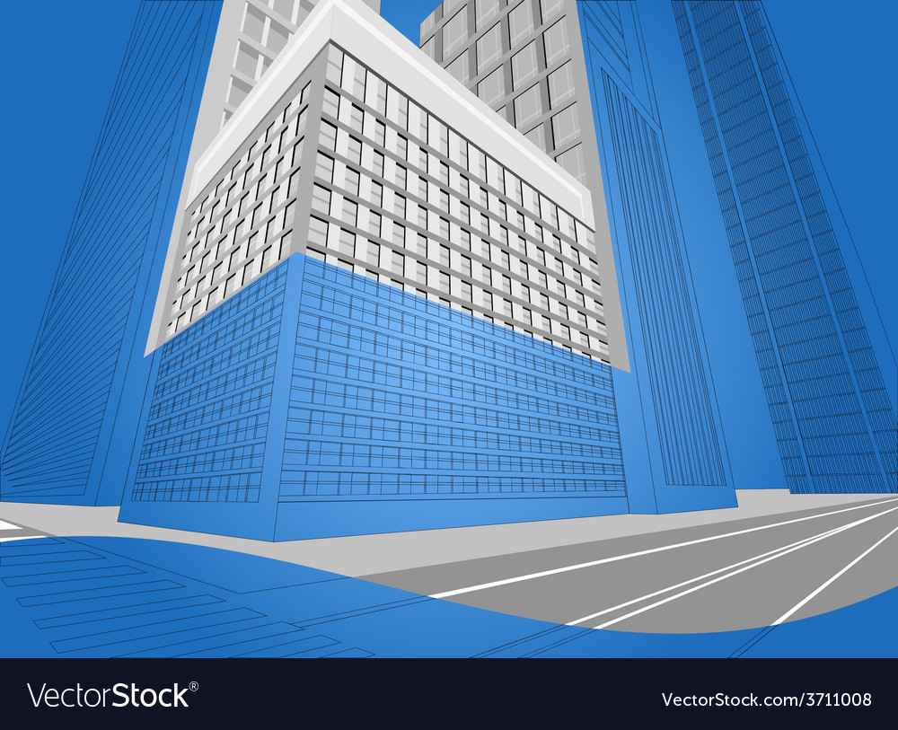 Wireframe urban city on a blue background vector | Price: 1 Credit (USD $1)