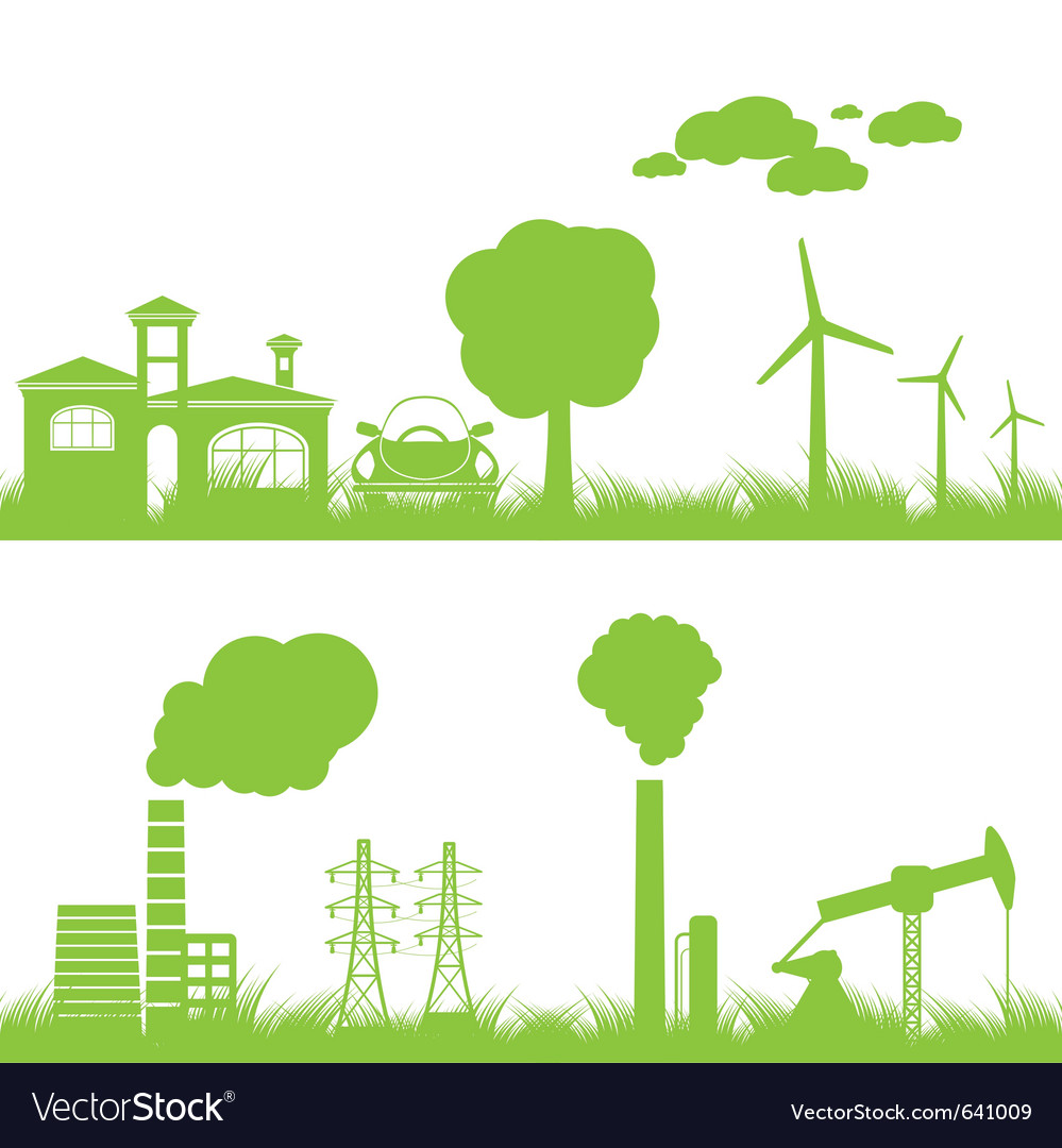 Abstract ecology and industry background vector | Price: 1 Credit (USD $1)