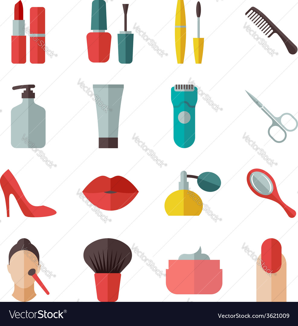 Beauty and makeup flat icons vector | Price: 1 Credit (USD $1)