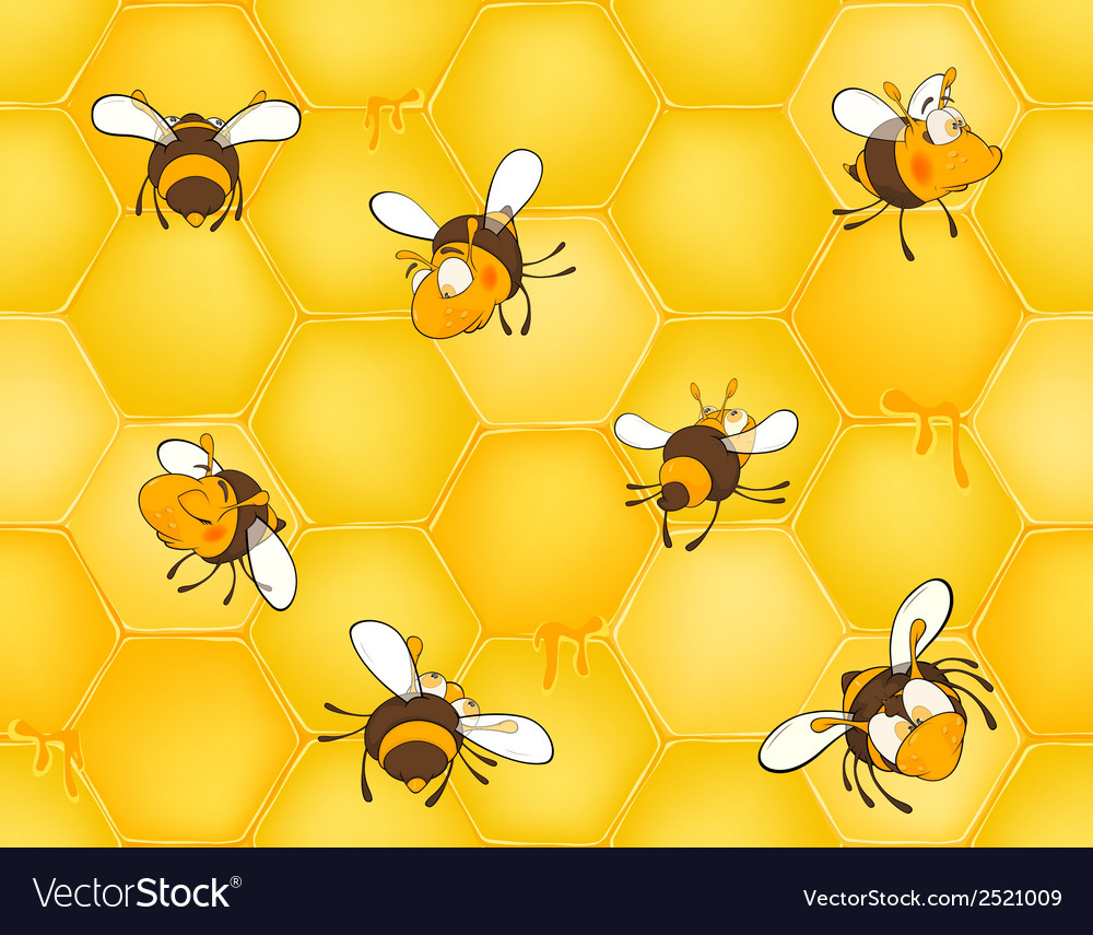 Bees and bees honeycomb seamless pattern vector | Price: 1 Credit (USD $1)