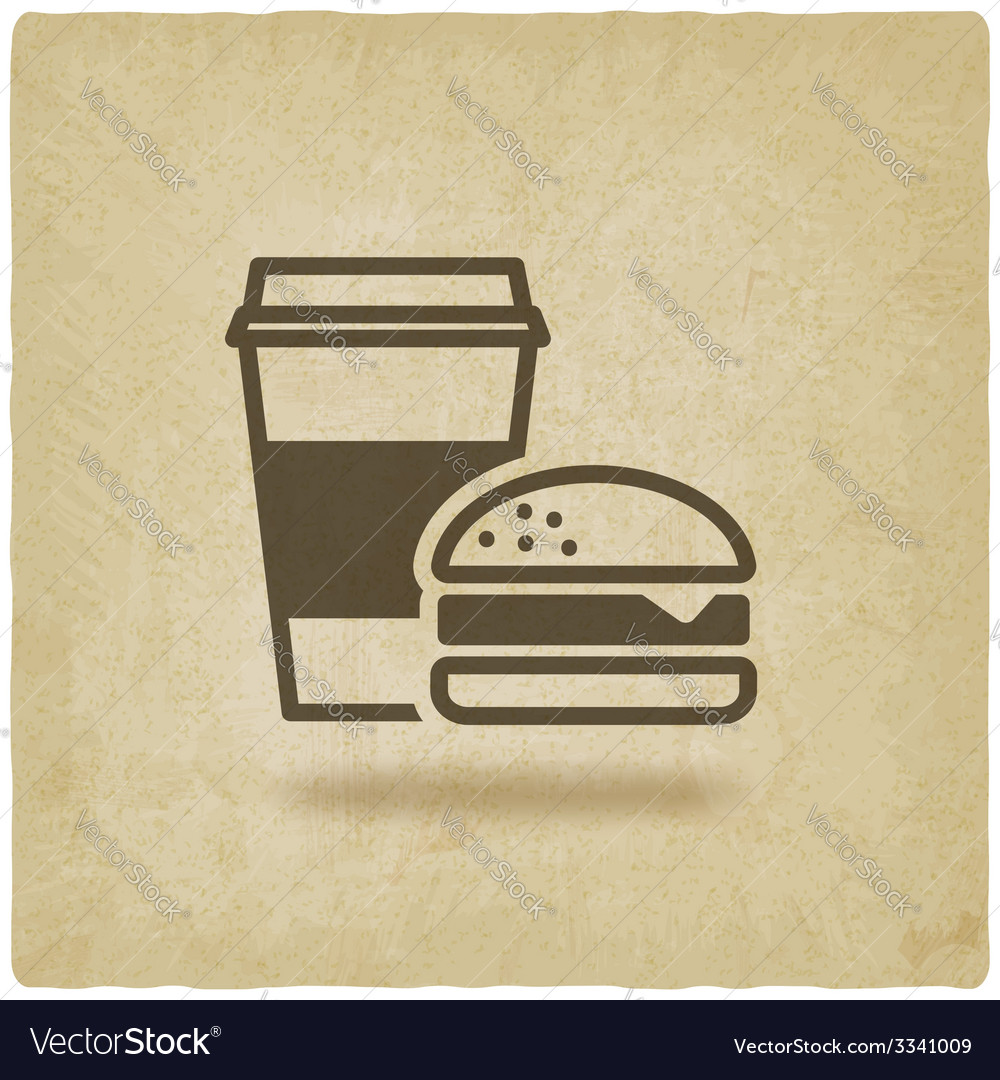 Coffee and burger fast food old background vector