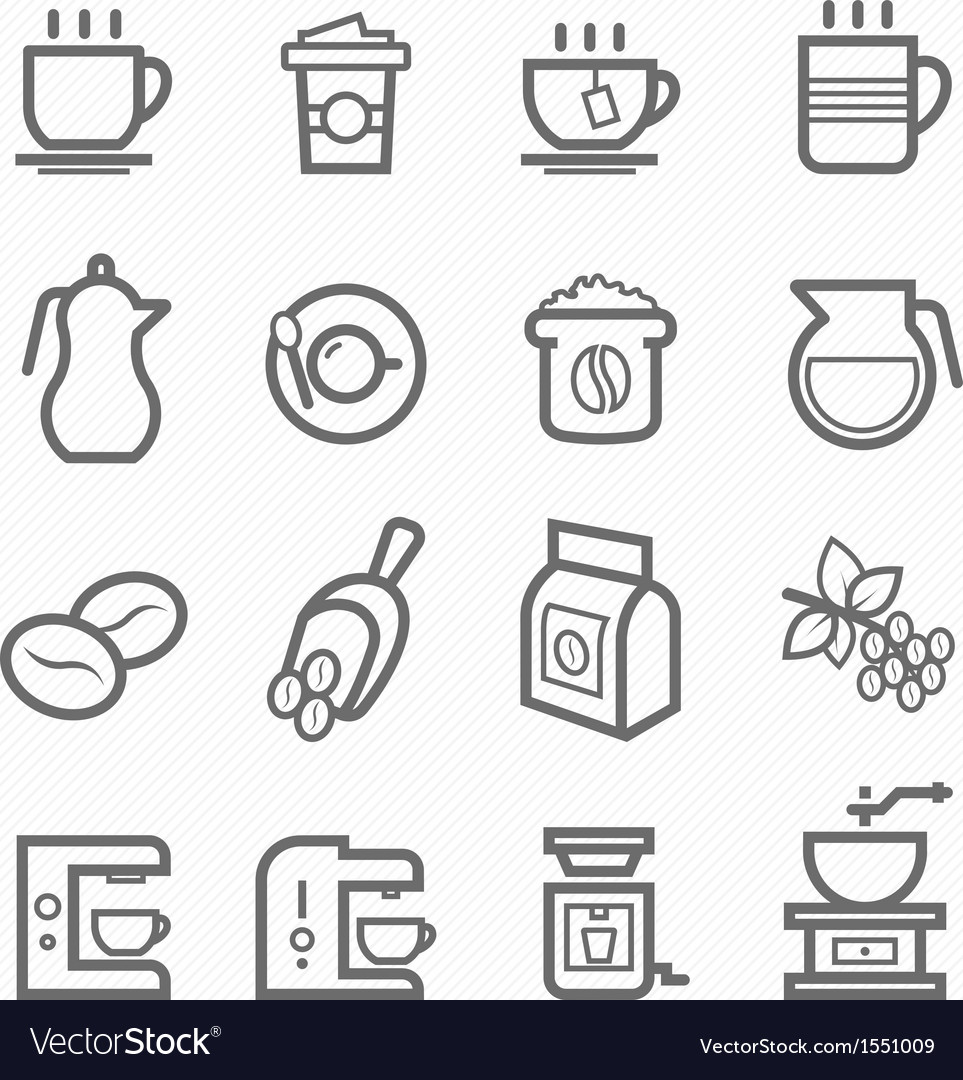 Coffee symbol line icon set vector | Price: 1 Credit (USD $1)