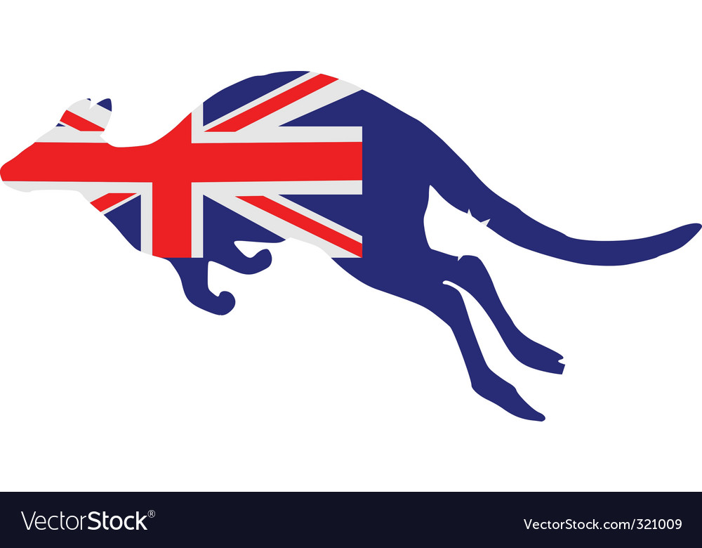 Flag of australia with kangaroo vector | Price: 1 Credit (USD $1)