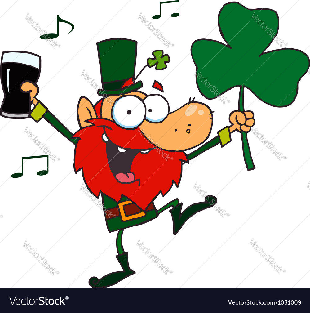 Leprechaun dancing with a glass of beer vector | Price: 1 Credit (USD $1)