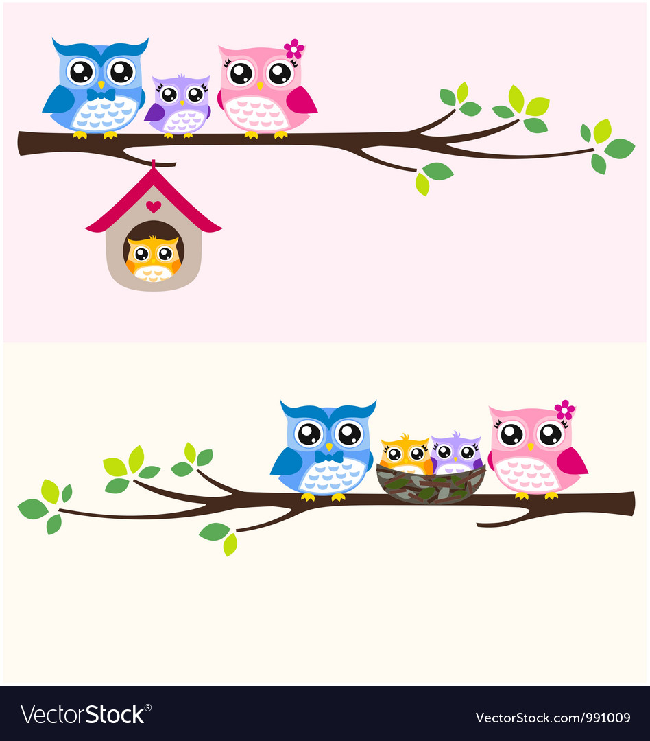 Owl happy family vector | Price: 1 Credit (USD $1)