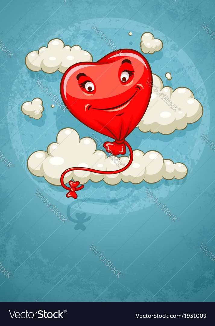 Red heart baloon flying among vector | Price: 1 Credit (USD $1)