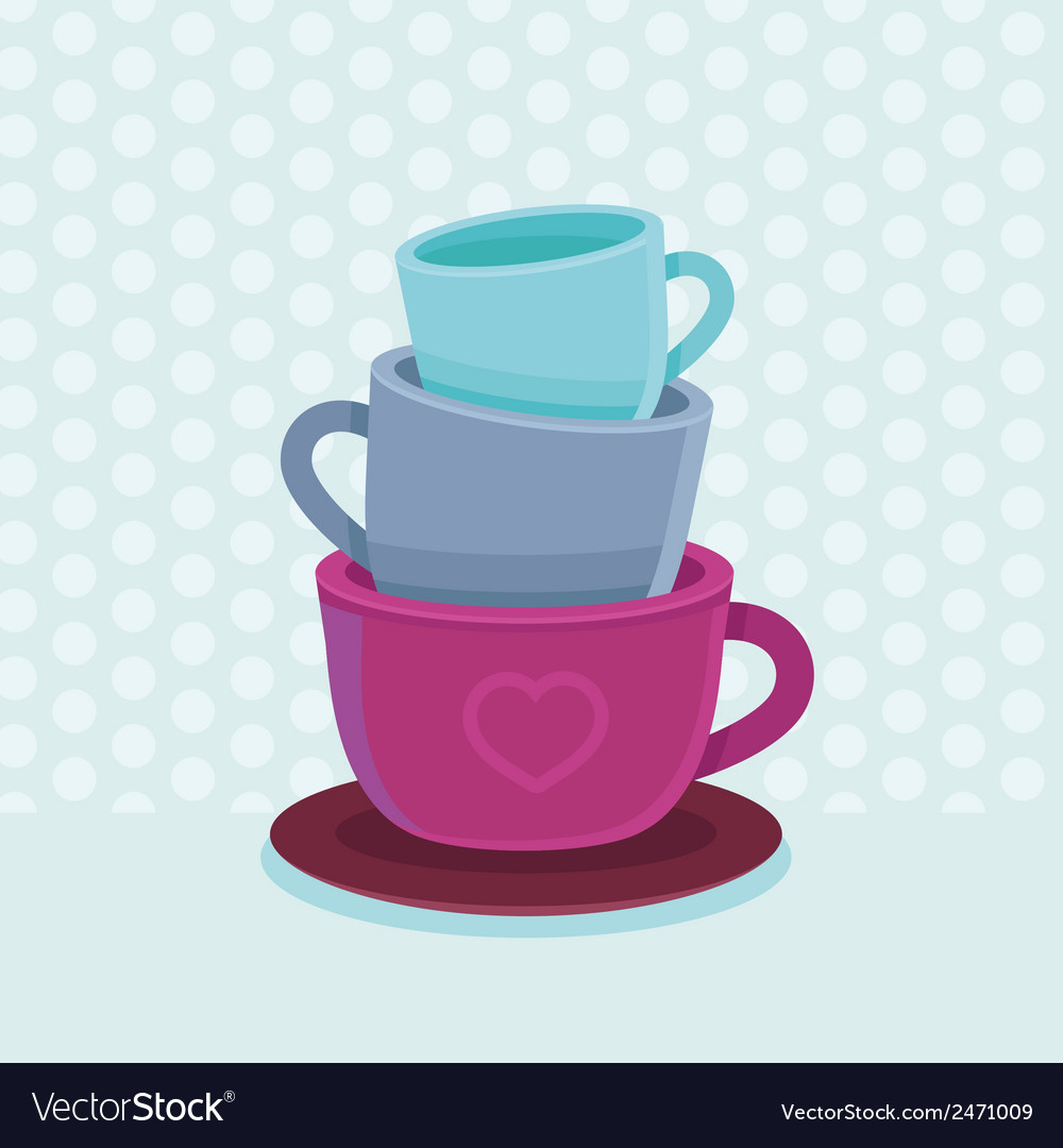 Stack of coffee mugs and cups vector | Price: 1 Credit (USD $1)