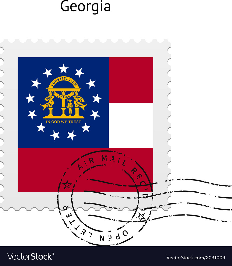 State of georgia flag postage stamp vector | Price: 1 Credit (USD $1)