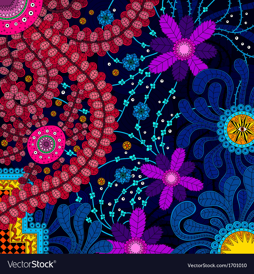 Amazing colorful background with flowers vector | Price: 1 Credit (USD $1)