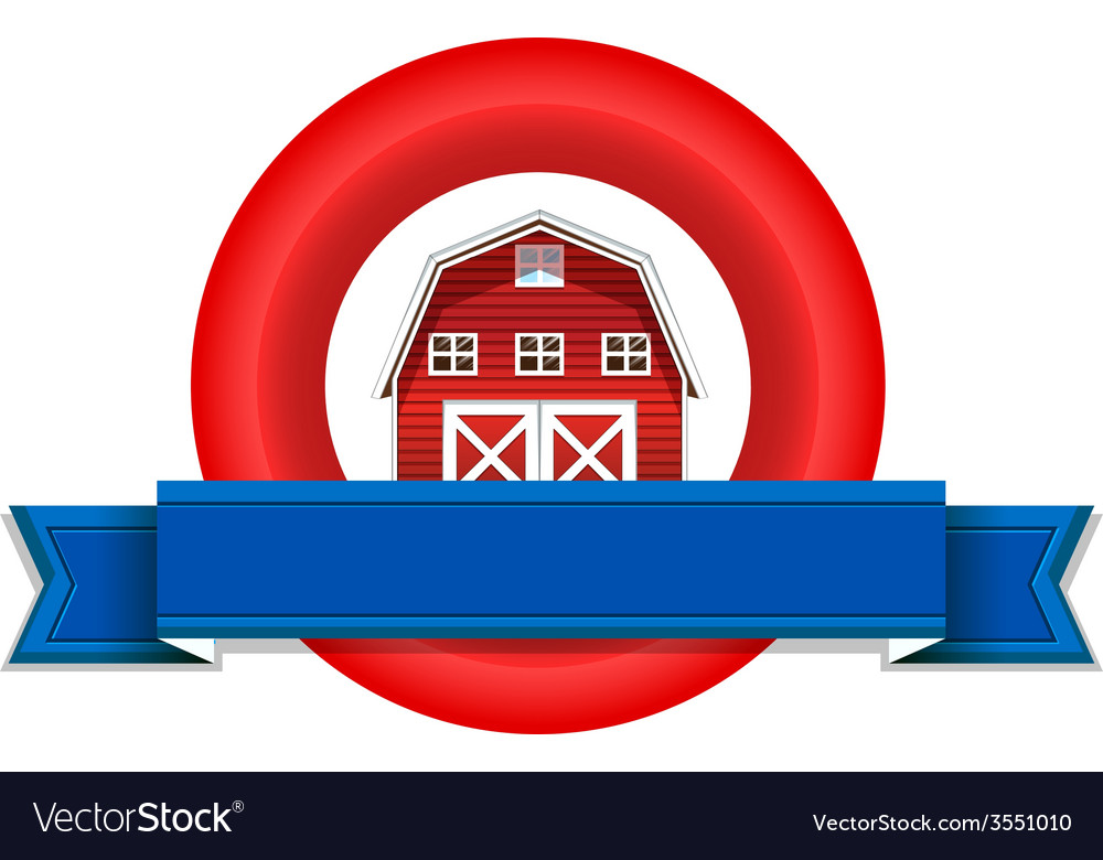 An empty label with a wooden barnhouse vector | Price: 1 Credit (USD $1)