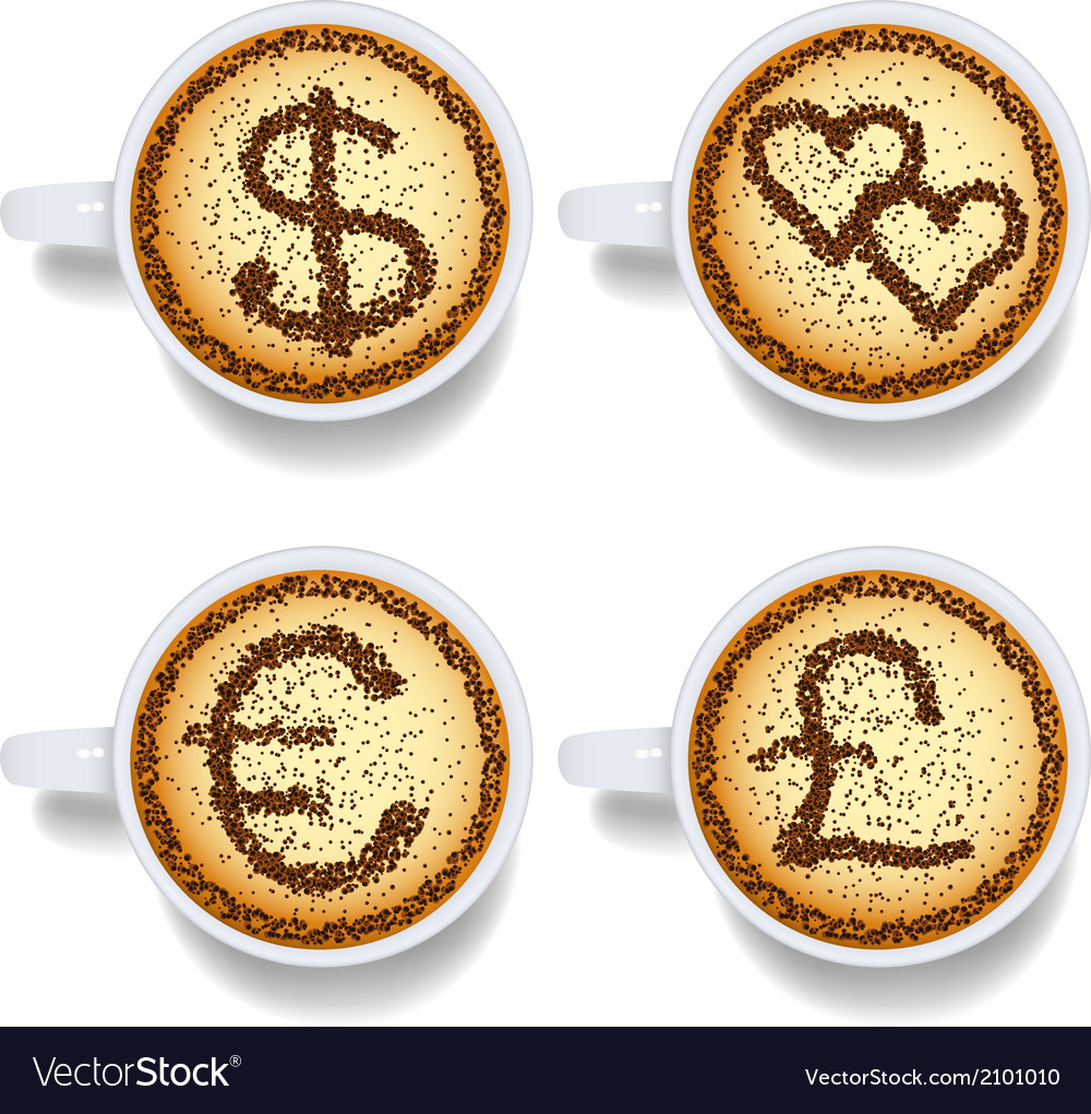 Cappuccino with money and heart signs vector | Price: 1 Credit (USD $1)