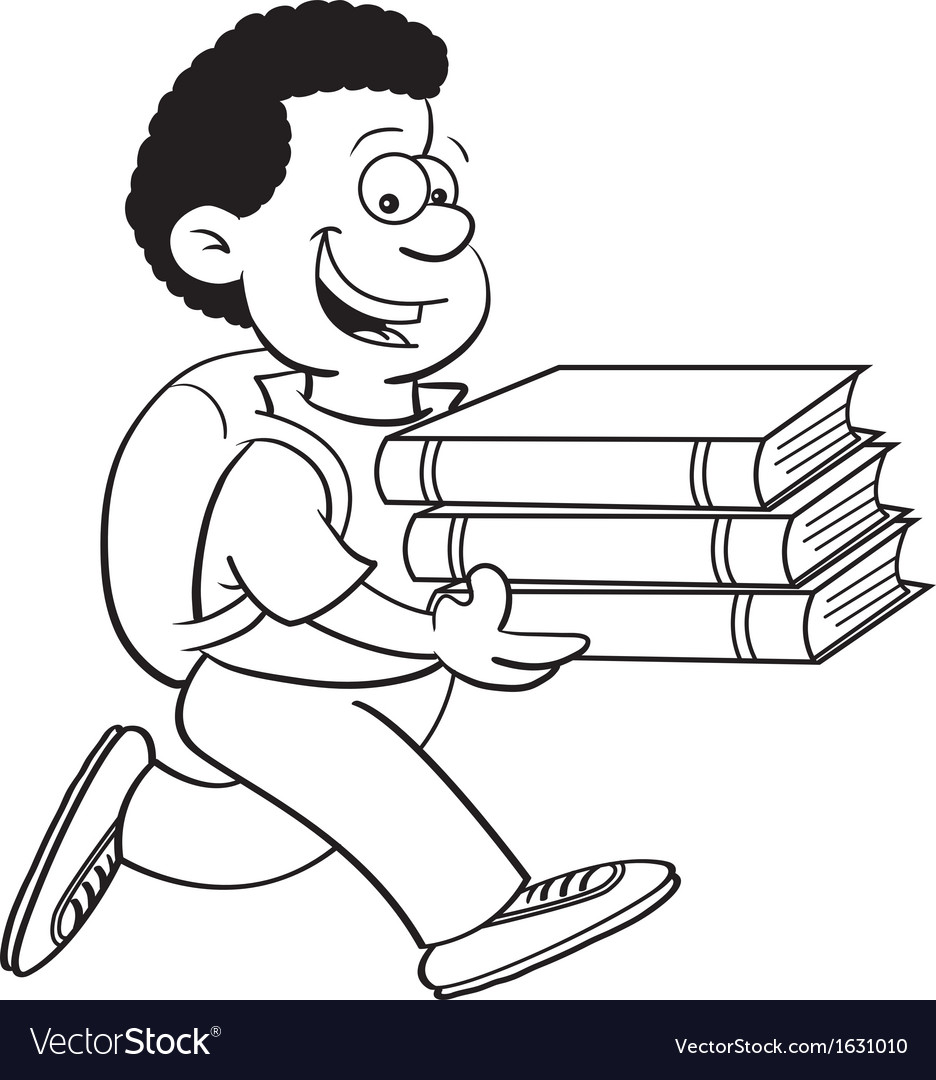 Cartoon of a boy carrying books vector | Price: 3 Credit (USD $3)