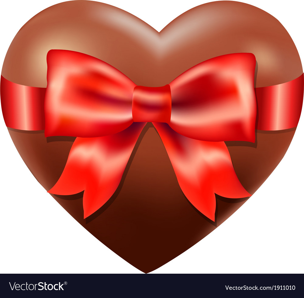 Chocolate heart with red bow vector | Price: 1 Credit (USD $1)