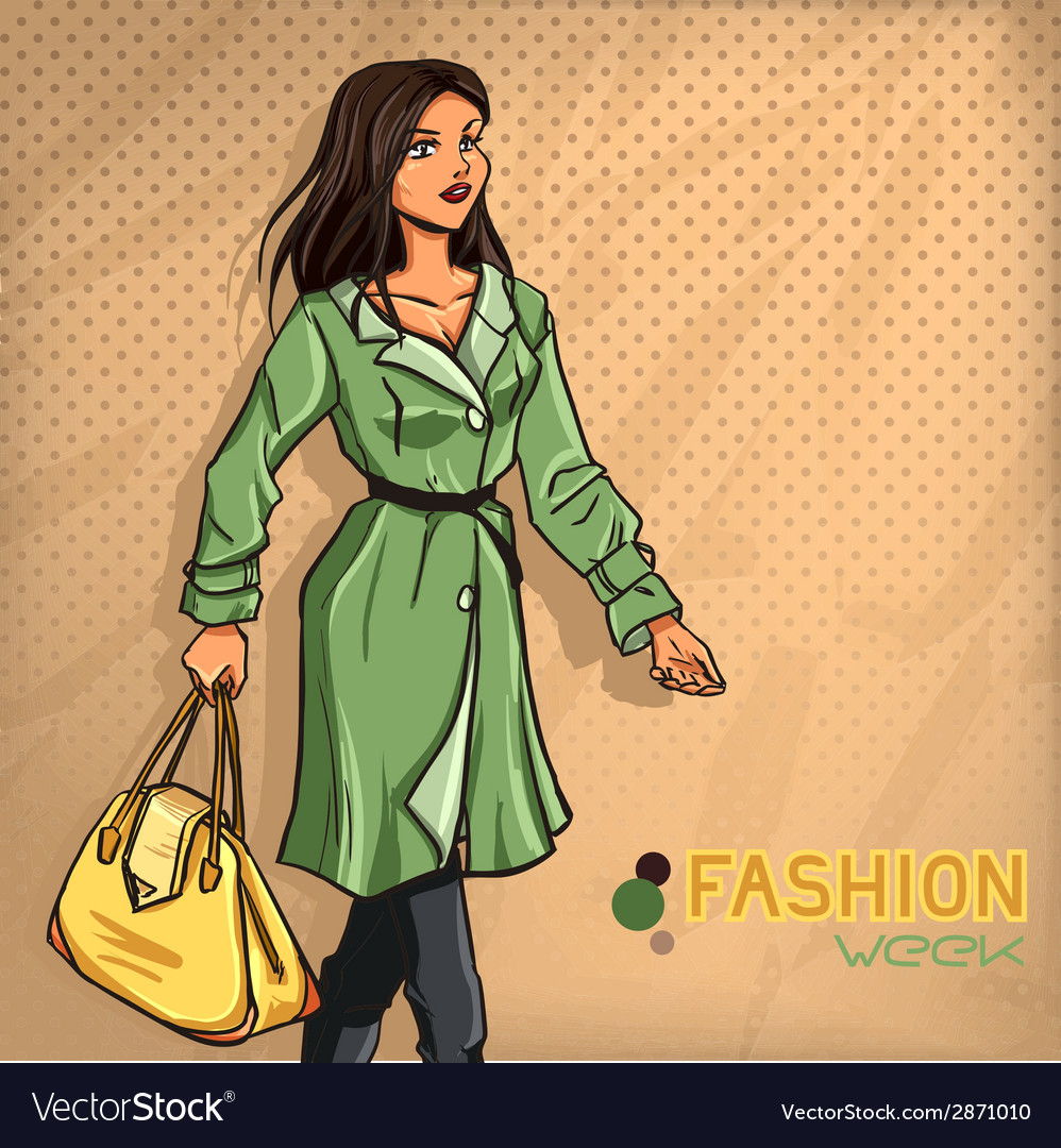 Elegant fashionable lady vector | Price: 1 Credit (USD $1)