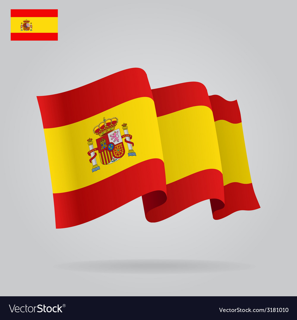 Flat and waving spanish flag vector