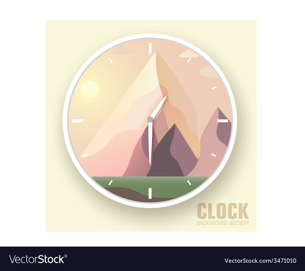 Flat colorful nature mountain clockicons vector | Price: 1 Credit (USD $1)