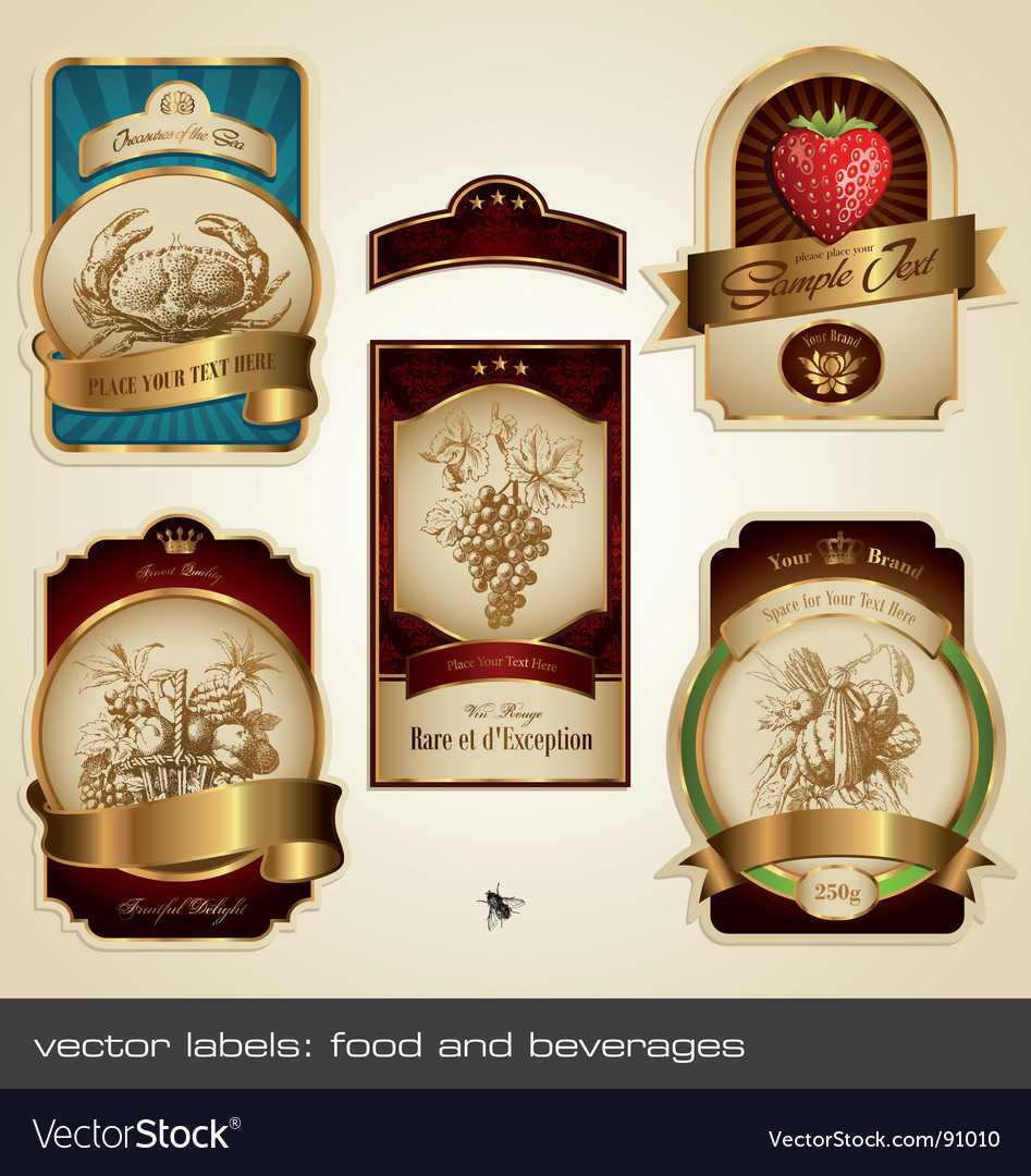 Food and beverage labels vector | Price: 3 Credit (USD $3)
