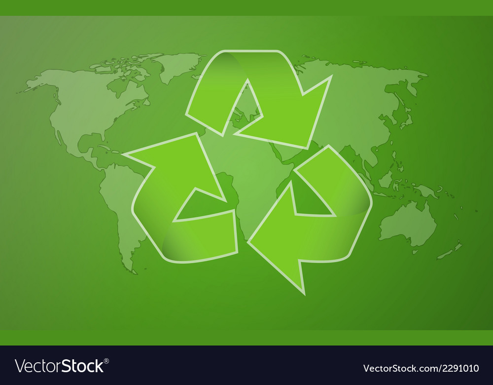 Green worldmap with symbol of recycling vector | Price: 1 Credit (USD $1)