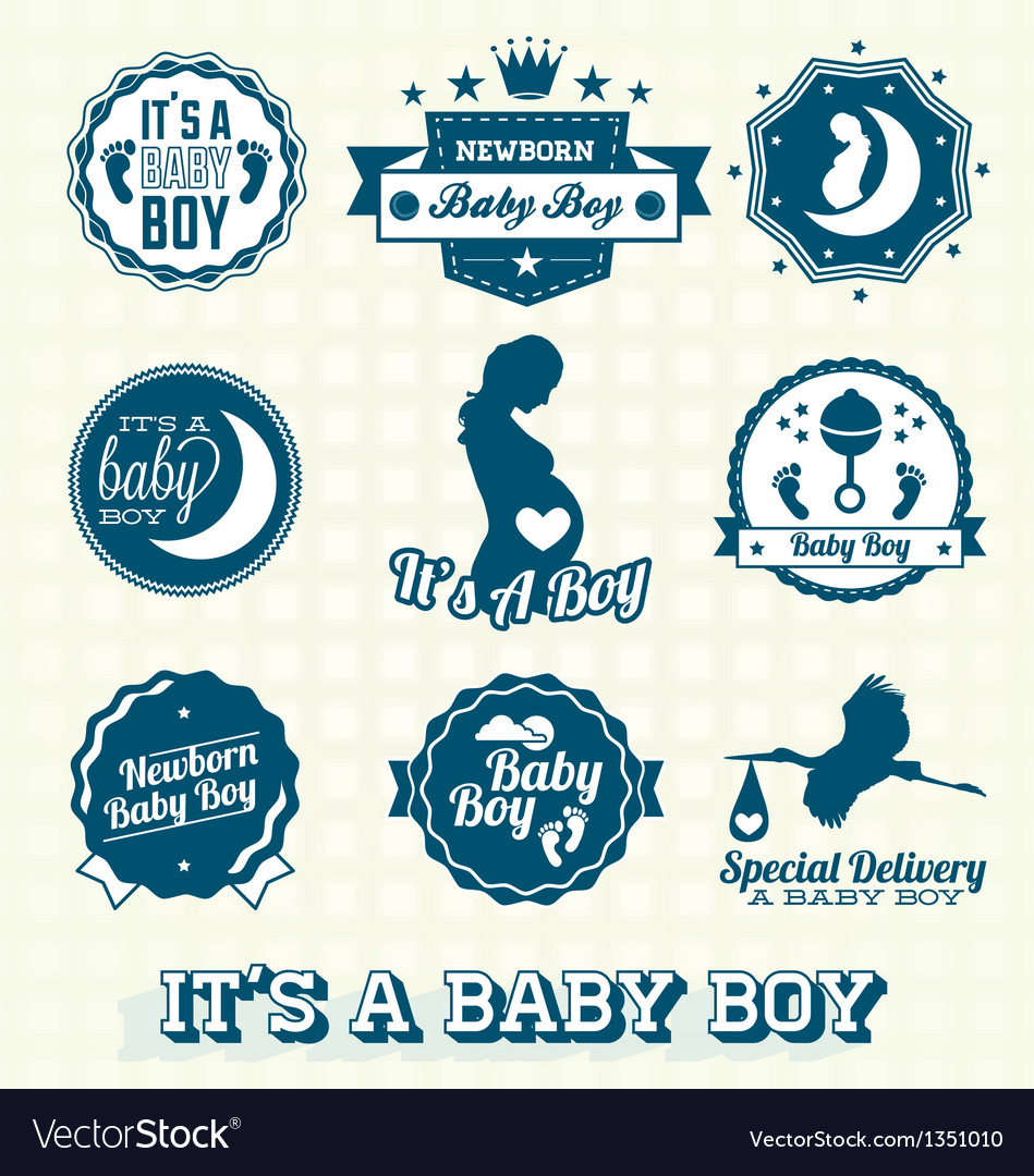 Its a baby boy retro labels collection vector | Price: 1 Credit (USD $1)
