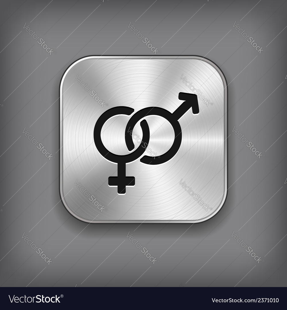Male and female icon - metal app button vector | Price: 1 Credit (USD $1)
