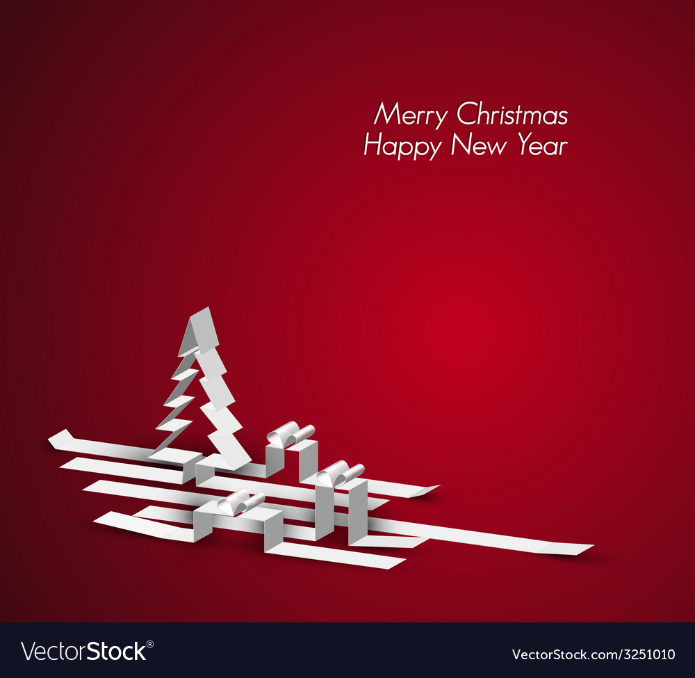 Merry christmas card made from paper stripes vector