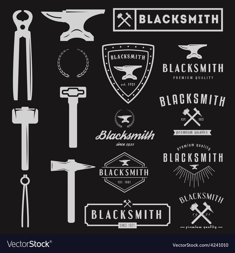 Set of logo for blacksmith typographic logotype vector | Price: 1 Credit (USD $1)