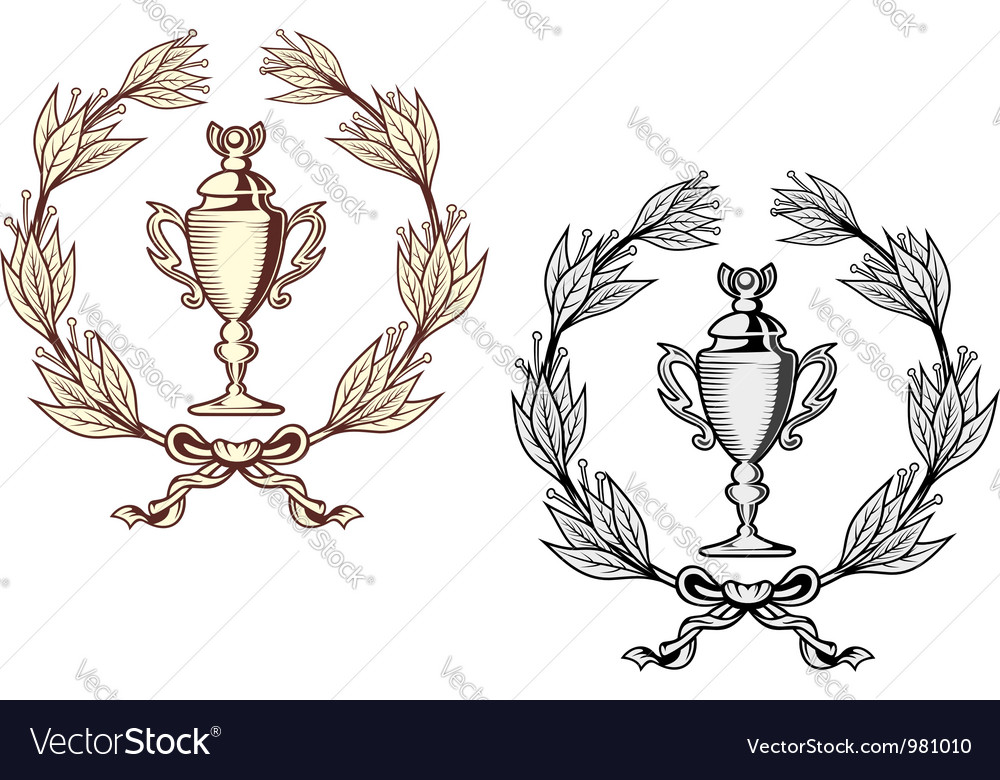 Sport trophy with laurel wreath vector | Price: 1 Credit (USD $1)