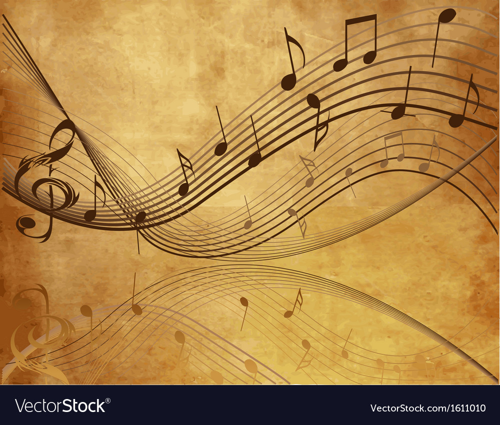 Vintage background with music notes vector | Price: 1 Credit (USD $1)