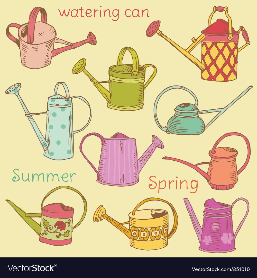 Watering can collection vector | Price: 1 Credit (USD $1)