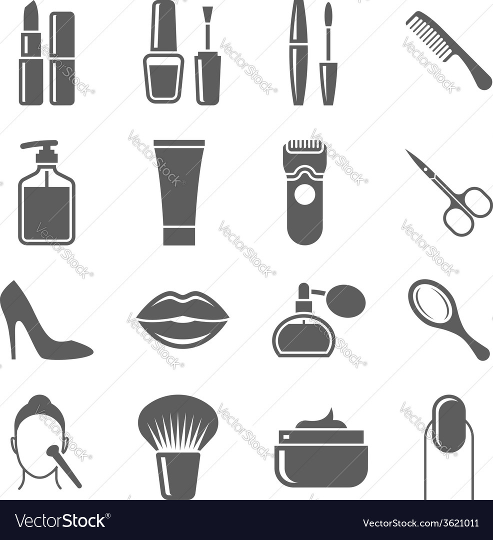 Beauty and makeup icons vector | Price: 1 Credit (USD $1)