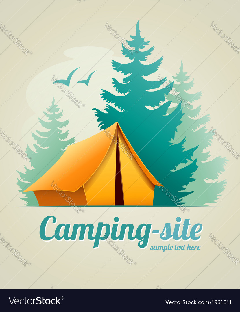 Camping with tent in forest vector | Price: 1 Credit (USD $1)