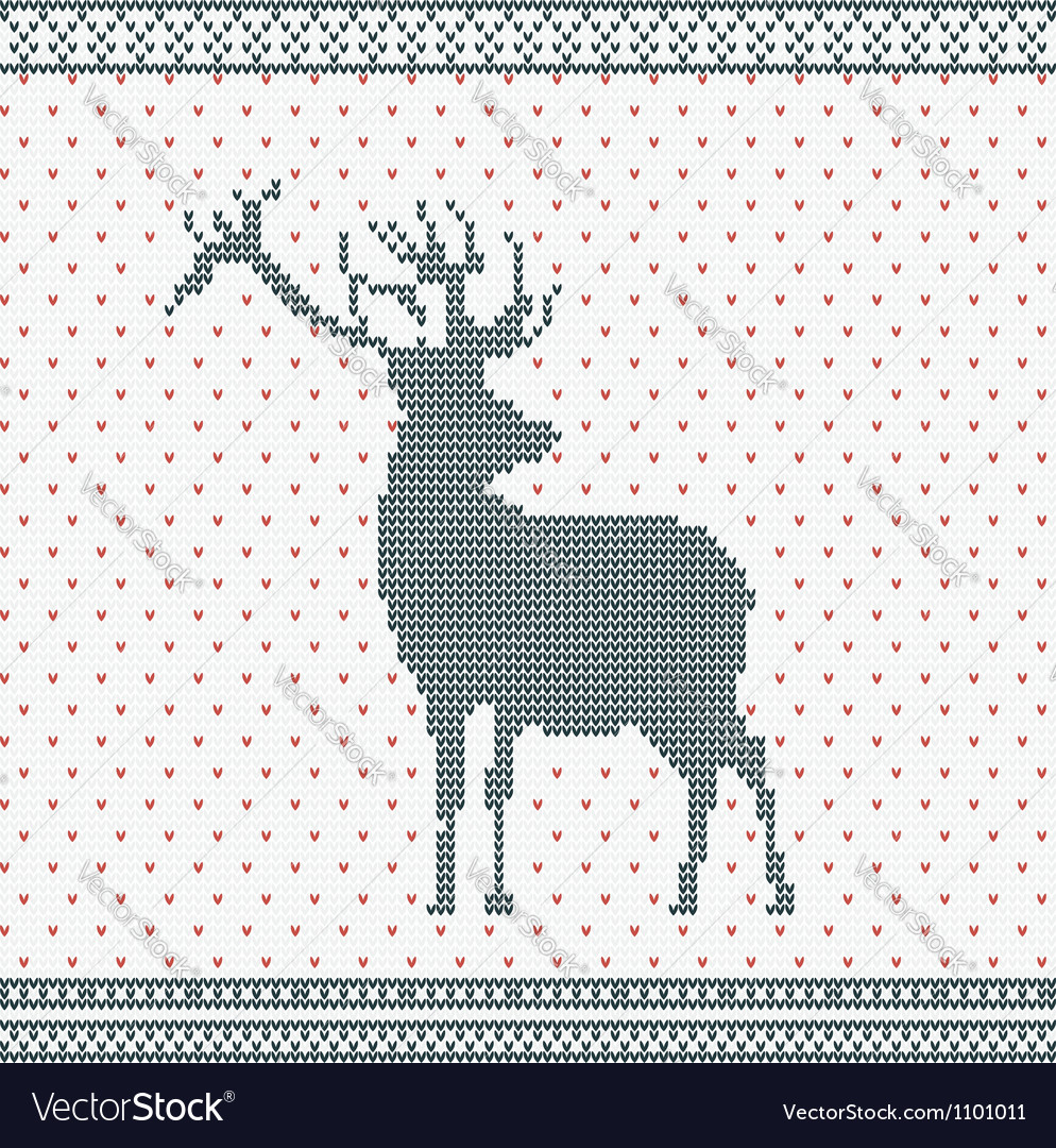 Christmas knitted background with deer vector   Price: 1 Credit (USD $1)