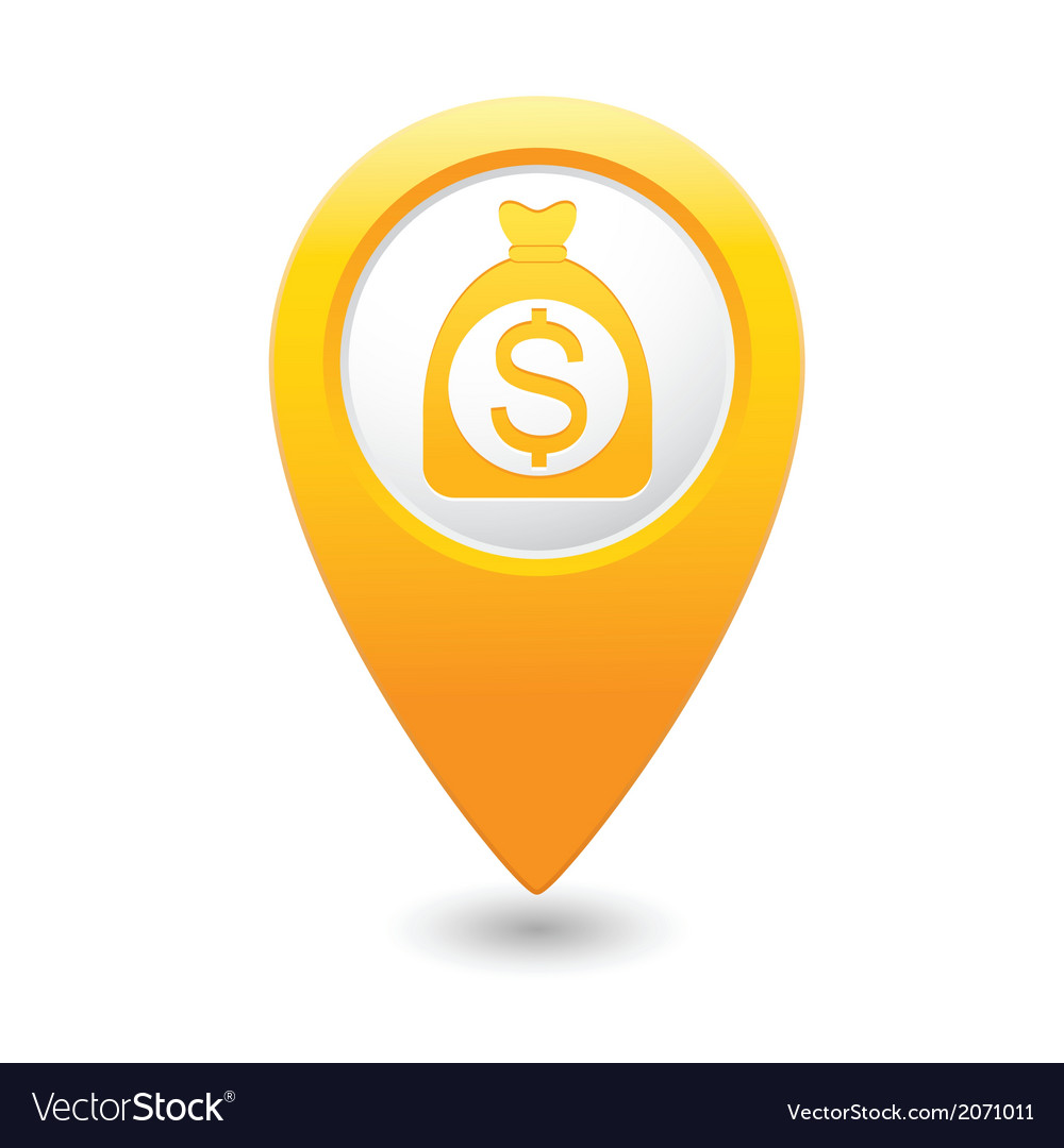 Dollar on bag icon yellow map pointer vector | Price: 1 Credit (USD $1)