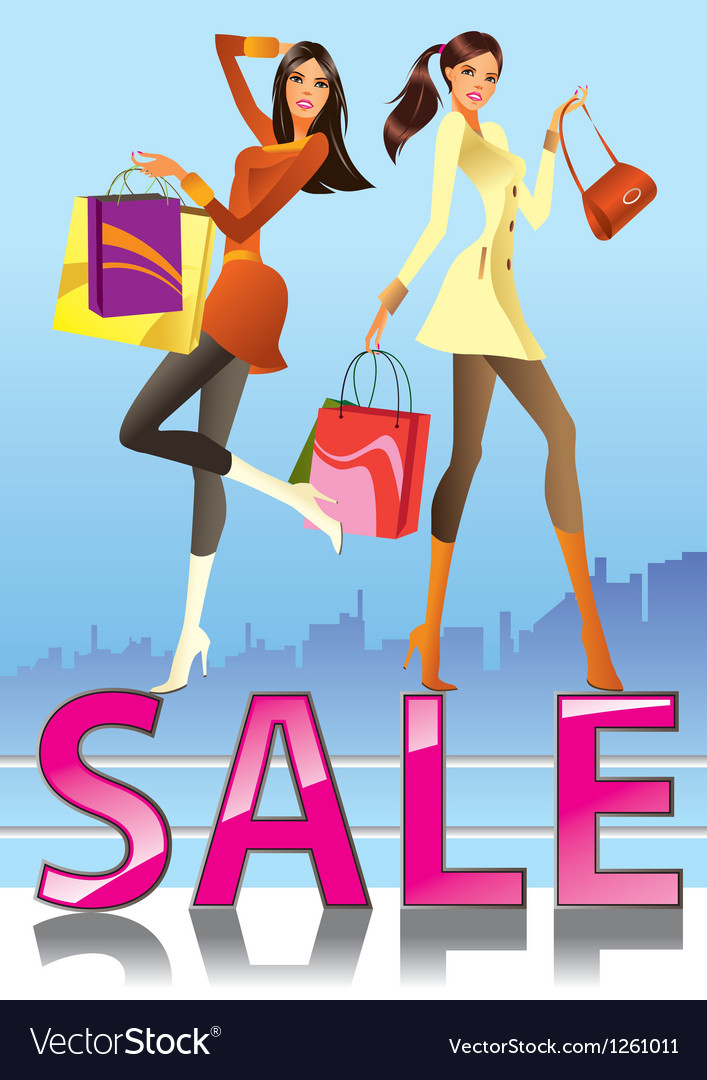Fashion girls in sale campaign vector | Price: 3 Credit (USD $3)