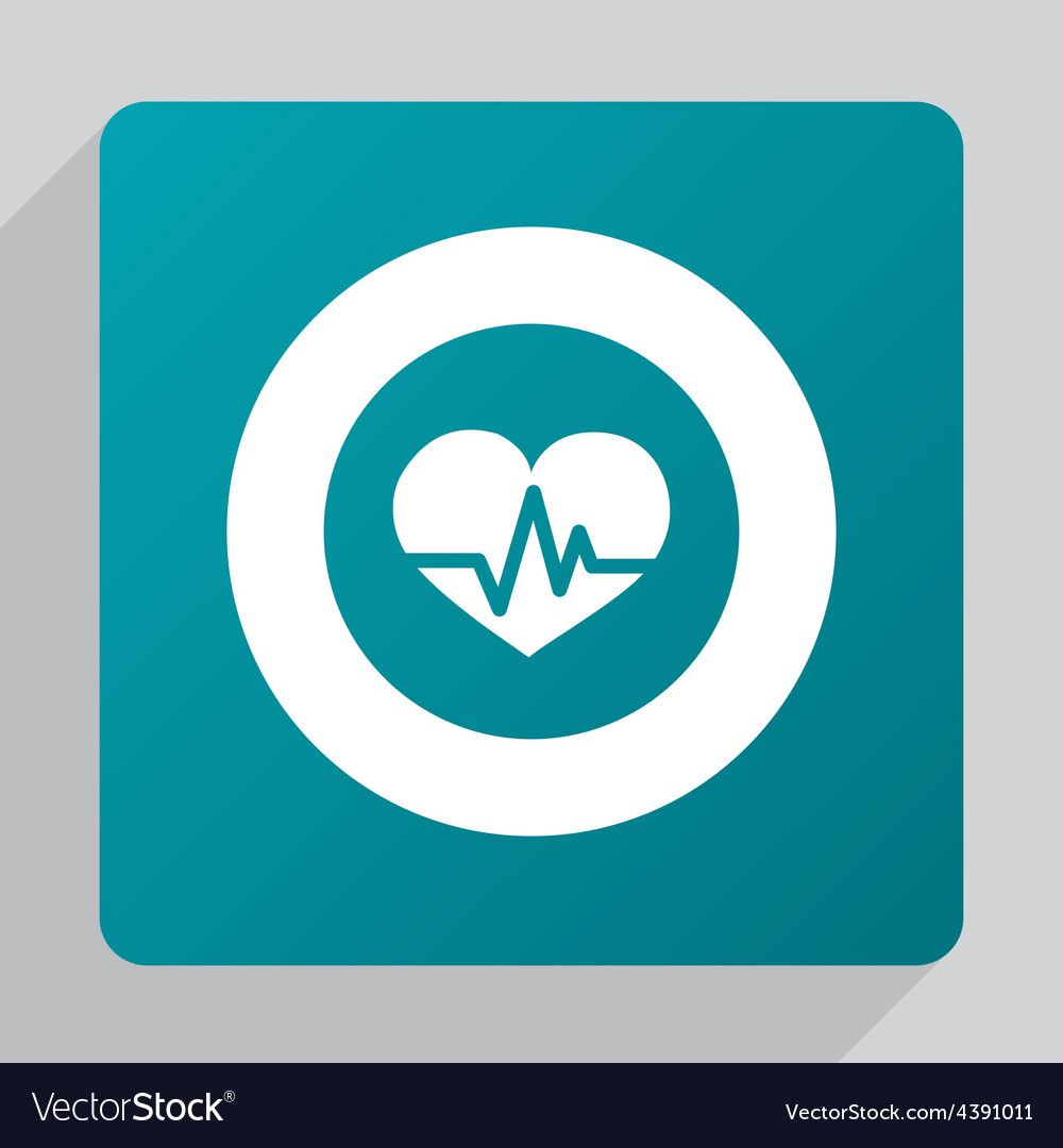 Flat heart pulse icon vector | Price: 1 Credit (USD $1)