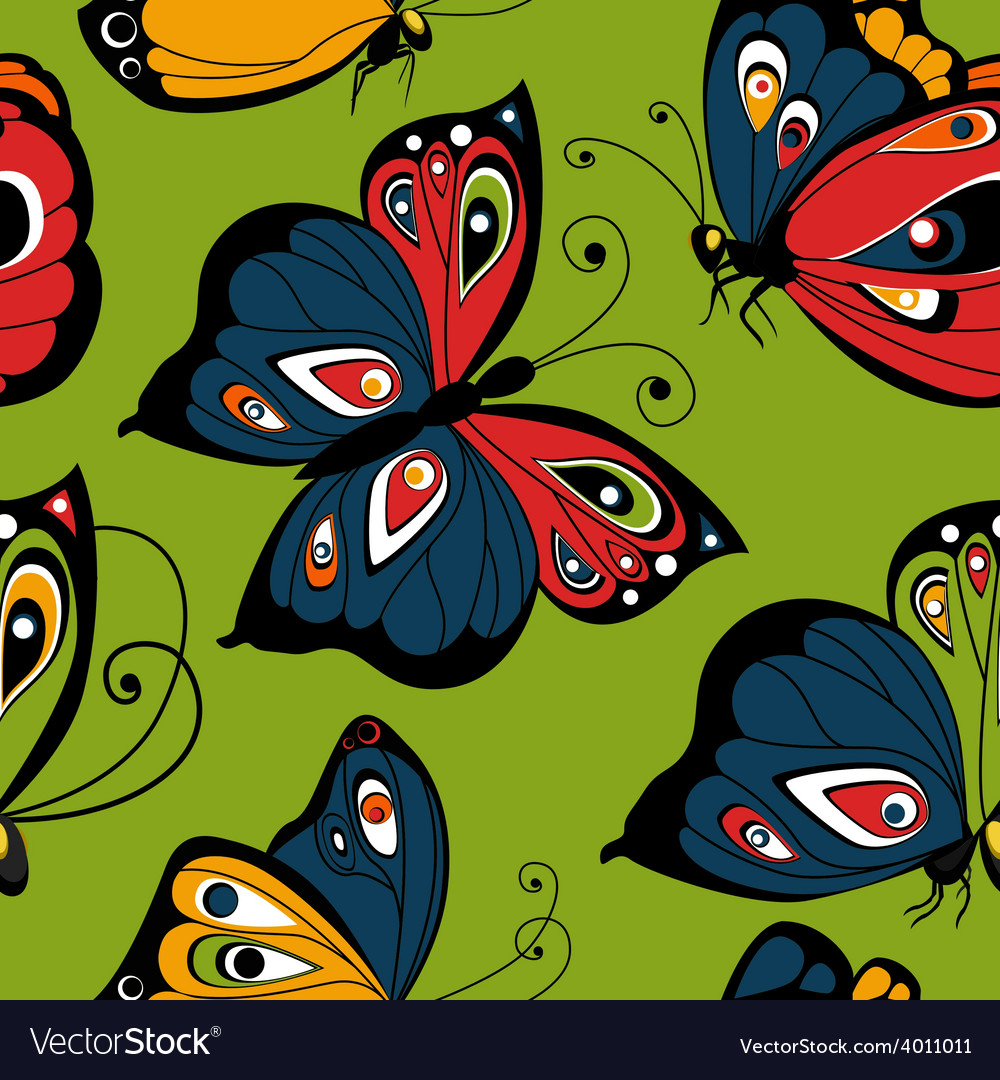 Flying butterfly seamless pattern spring vector | Price: 1 Credit (USD $1)