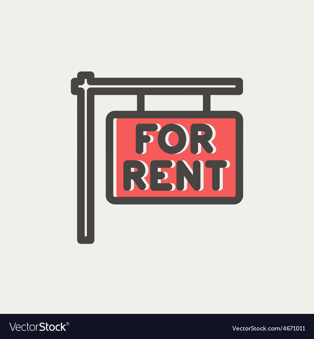 For rent placard thin line icon vector | Price: 1 Credit (USD $1)