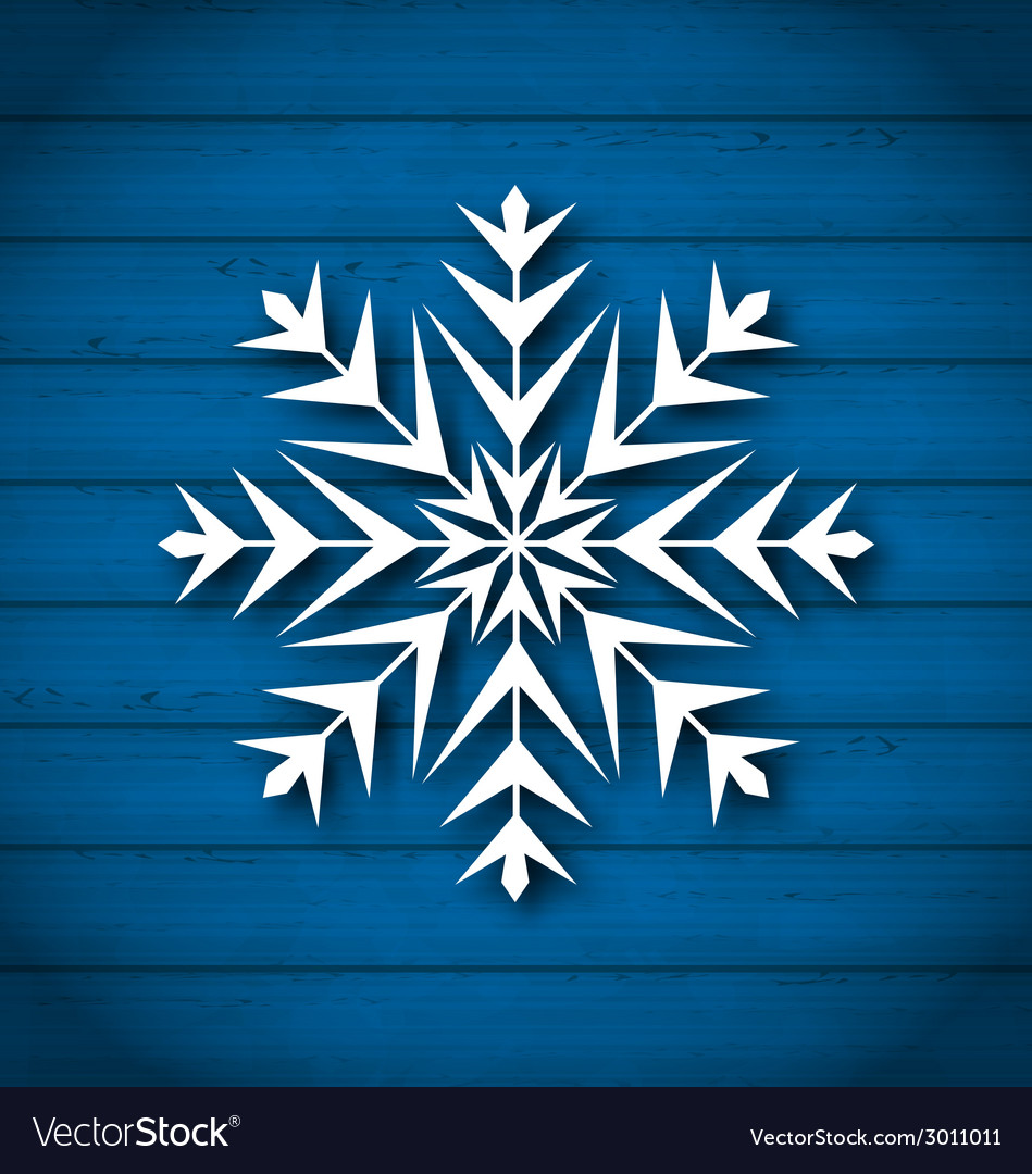 Geometric snowflake on wooden background vector | Price: 1 Credit (USD $1)