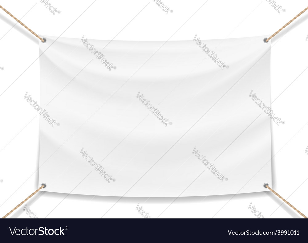 Image of a white banner with ropes vector | Price: 1 Credit (USD $1)