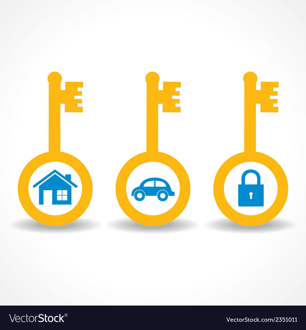 Key for home car and lock stock vector