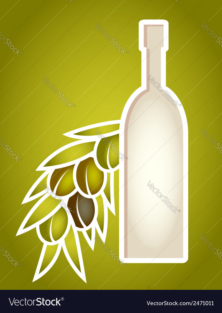 Olive oil bottle stylized as paper cut frame vector | Price: 1 Credit (USD $1)