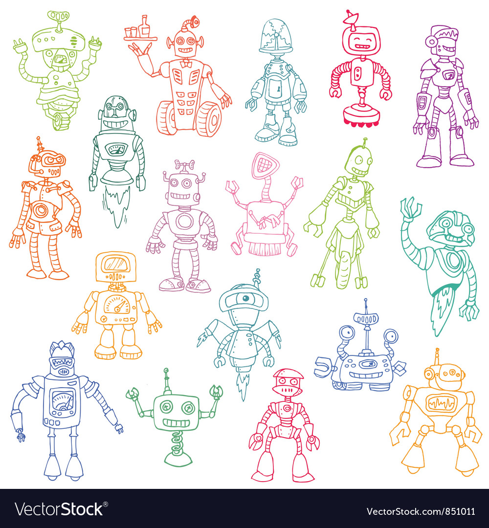 Robots hand drawn doodle set vector | Price: 1 Credit (USD $1)
