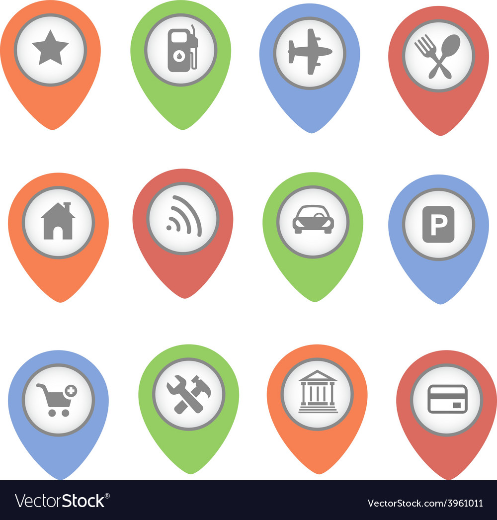 Set of map pointers with icons isolated on vector | Price: 1 Credit (USD $1)