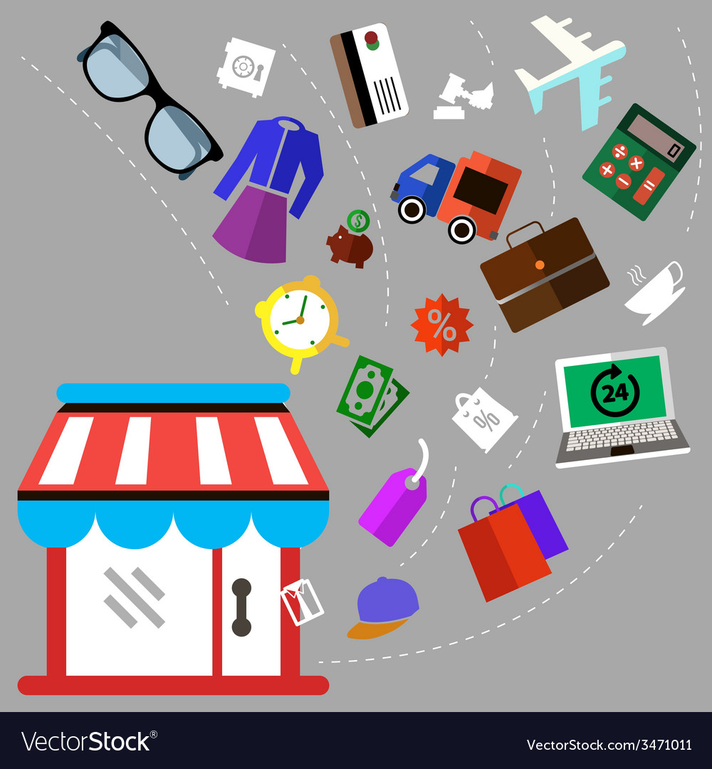 Shoping and different goods vector | Price: 1 Credit (USD $1)