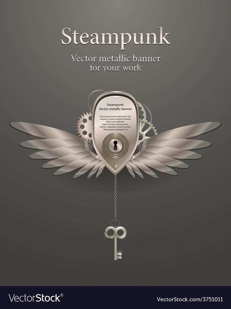 Silver metallic banner steampunk vector | Price: 3 Credit (USD $3)
