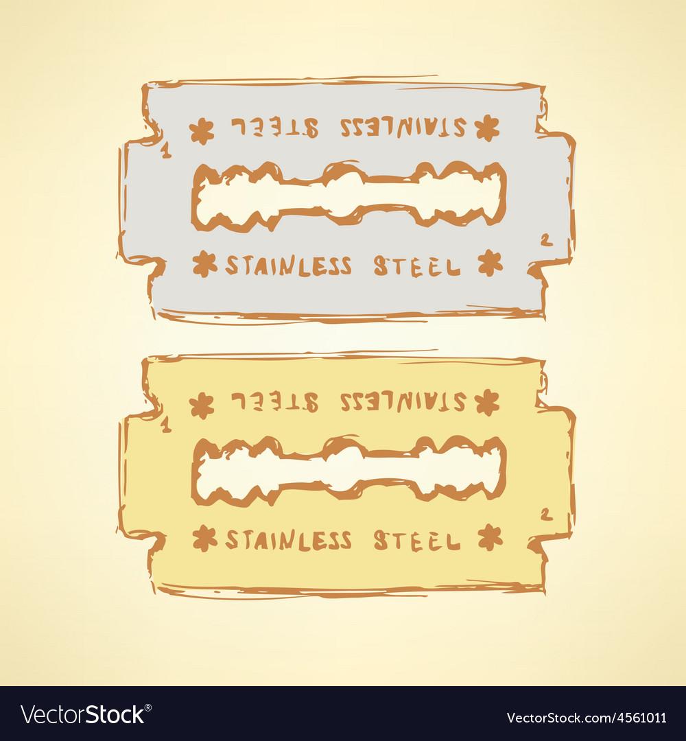 Sketch razor blade in vintage style vector | Price: 1 Credit (USD $1)