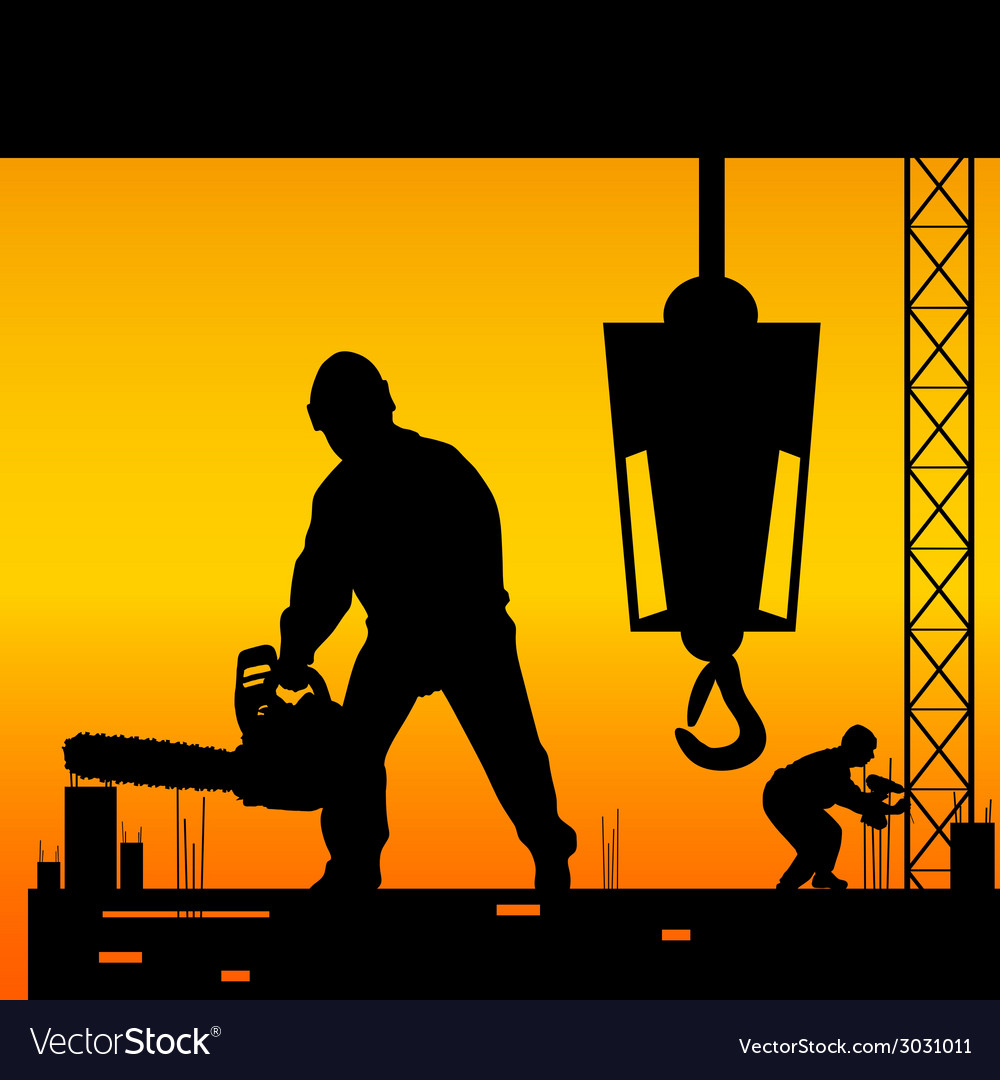Workers on a construction site vector | Price: 1 Credit (USD $1)